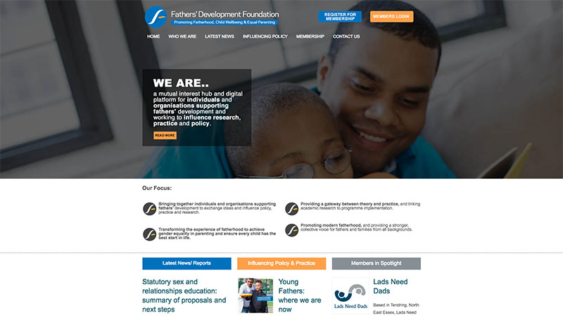 Fathers Development Foundation - website design