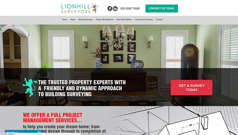 Lionhill Surveyors - Website design